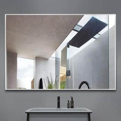 Medium Rectangle Silver Hooks Contemporary Mirror (36 in. H x 24 in. W)