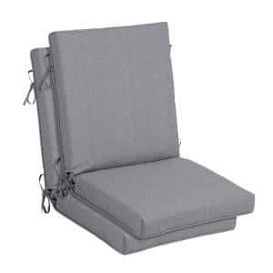 21 in. x 24 in. Stone Gray Outdoor High Back Dining Chair Cushion (2-Pack)