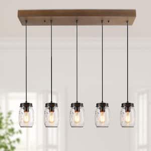 Mina 5-Light Bronze DIY Mason Jar Island Chandelier Modern Rustic Real Wood Linear Pendant Light with Clear Glass Shades