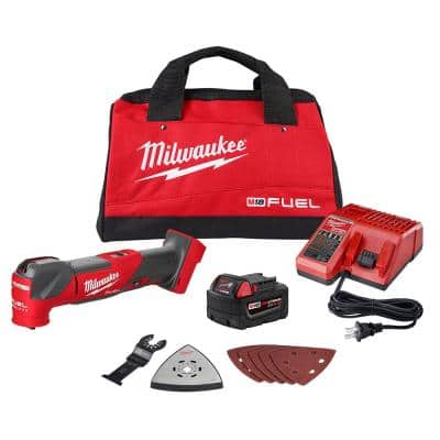 M18 FUEL 18-Volt Lithium-Ion Cordless Brushless Oscillating Multi-Tool Kit with one 5.0 Ah Battery, Charger and Tool Bag