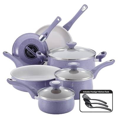 New Traditions 12-Piece Aluminum Ceramic Nonstick Cookware Set in Lavender Speckle