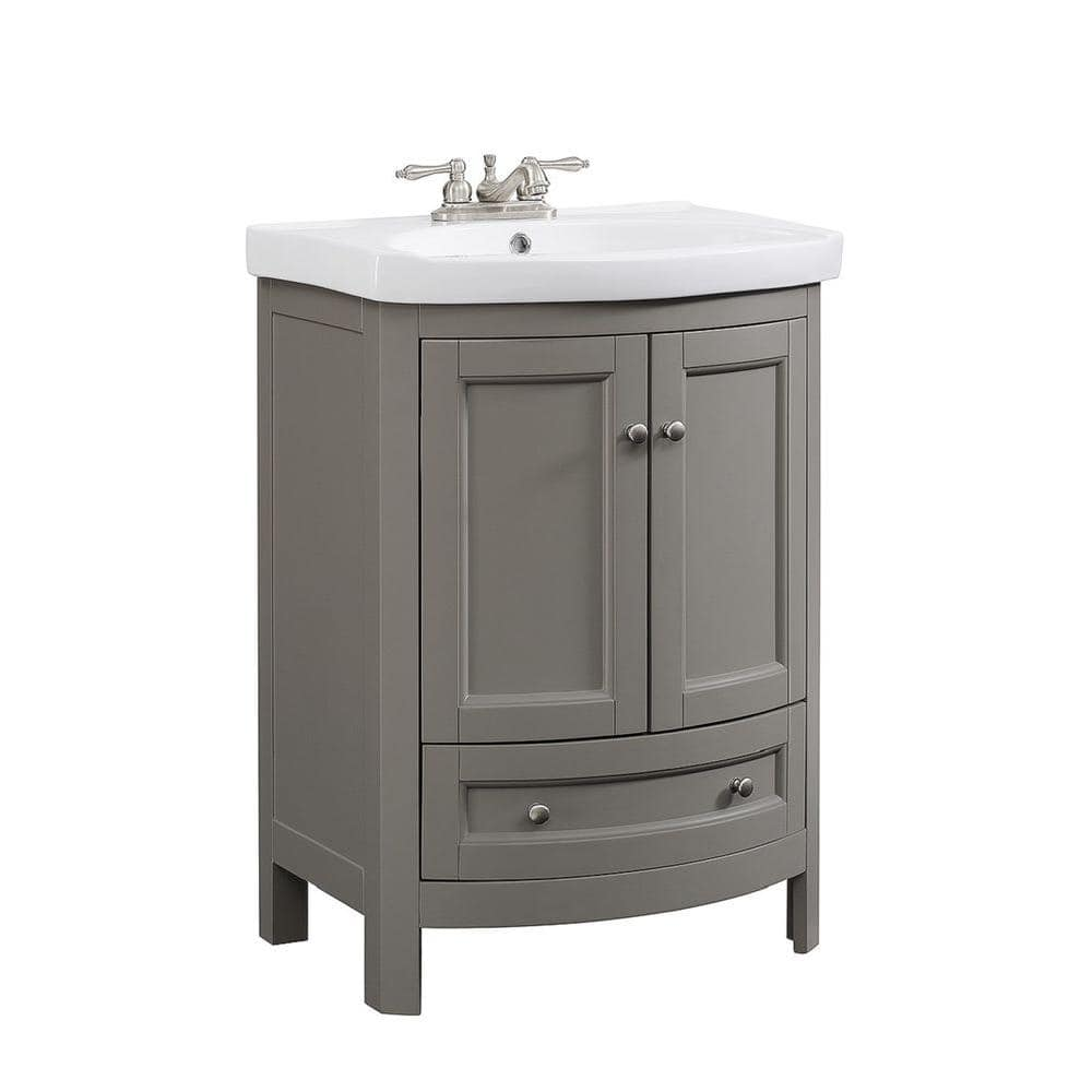Runfine 24 In W X 18 In D X 34 In Wood Gray Vanity With White Vitreous China Vanity Top And Basin Rfva0069g The Home Depot