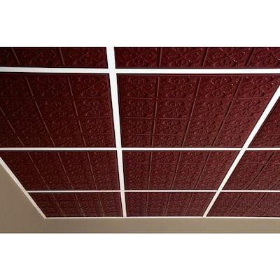 Fleur-de-lis Merlot 2 ft. x 2 ft. Lay-in or Glue-up Ceiling Panel (Case of 6)