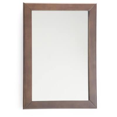 Marlowe 22 in. W x 30 in. H Framed Rectangular Bathroom Vanity Mirror in Brown