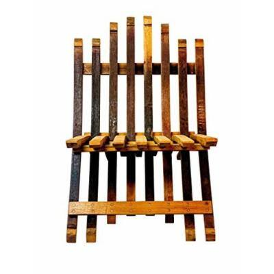 Oak Folding Wood Wine Barrel Stave Outdoor Lounge Chair