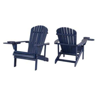 Classic Navy Blue Wood Adirondack Chair (2-Pack)