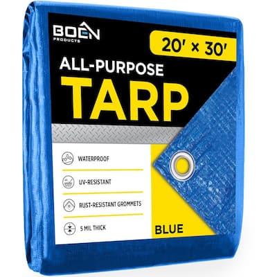 Heavy Duty Blue Poly Tarp Cover 20 ft. W x 30 ft. L Waterproof, Tarpaulin