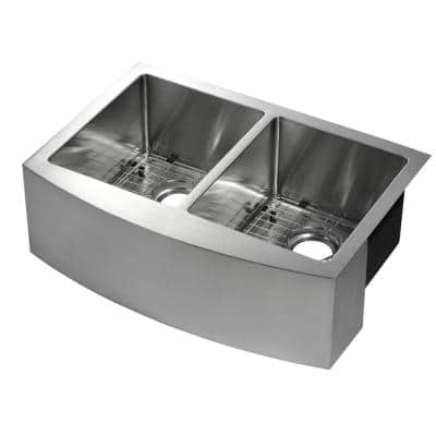 Parketon Undermount Stainless Steel 30 in. 50/50 Double Bowl Curved Farmhouse Apron Front Kitchen Sink