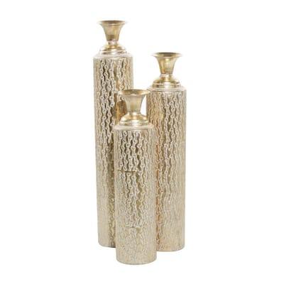 Gold Metal Decorative Vase (Set of 3)