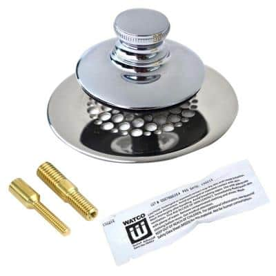 Universal NuFit Push Pull Bathtub Stopper with Grid Strainer and Silicone, Two Pins in Chrome Plated