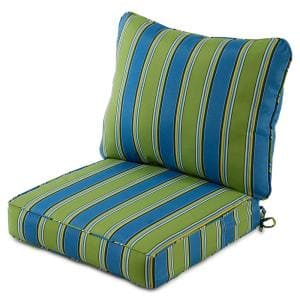 25 in. x 47 in. 2-Piece Deep Seating Outdoor Lounge Chair Cushion Set in Cayman Stripe