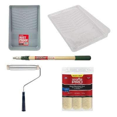 11 in. Deluxe Plastic Tray & Liner 3-Pk, 9 in x 1/2 in. Knit Surpass 3-Pk, 9 in. Acme Frame and 2-4 ft. Sherlock Pole