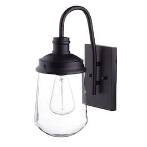 Edelman 1-Light Black Outdoor Wall Lantern Sconce