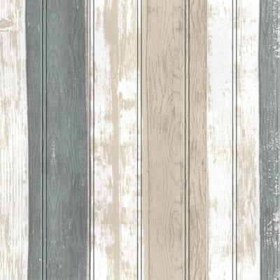 Falkirk Jura II 28 in. x 28 in. Peel and Stick Beige, Brown, Teal Faux Planks PE Foam Decorative Wall Paneling (10-Pack)