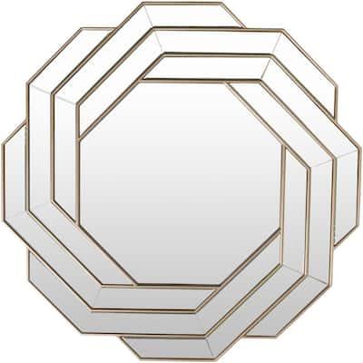 Medium Round Silver Contemporary Mirror (39.37 in. H x 39.37 in. W)