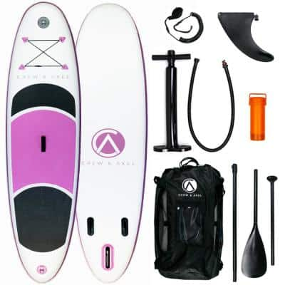 Inflatable Stand Up Paddle Board Non Slip SUP W Backpack, 3 Fins, Paddle, Pump (10 ft. x 30 in. x 6 in.) (17 lbs.) Pink