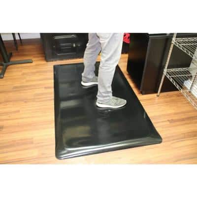 Marbleized Tile Top Black 2 ft. x 13 ft. x 7/8 in. Anti-Fatigue Commercial Mat