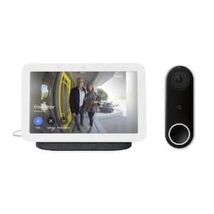 Nest Hello Wired Smart Wi-Fi Video Doorbell Plus Nest Hub 2nd Gen 7 in. Smart Home Display Charcoal