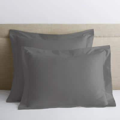 Legends Luxury Solid Gray Smoke 500-Thread Count Cotton Sateen Standard Sham