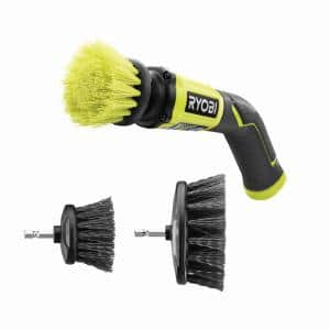 4-Volt Cordless Compact Scrubber with Hard Bristle Brush Cleaning Kit