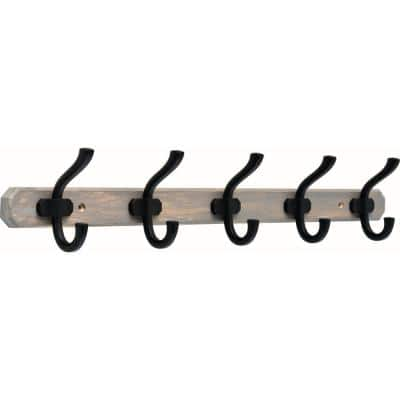 24 in. Graywash and Matte Black Hook Rack