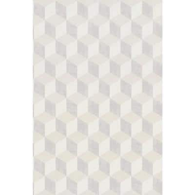 Bold 3 Dimensional Cube Beige Paper Strippable Roll (Covers 57 sq. ft.)