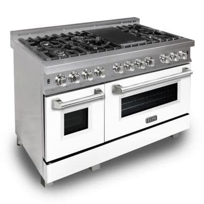 ZLINE 48 in. 6.0 cu. ft. Dual Fuel Range with Gas Stove and Electric Oven in DuraSnow Stainless Steel & White Matte Door