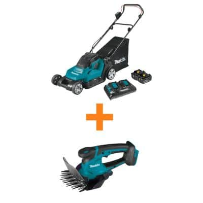 18V X2 (36V) LXT Cordless 17 in. Residential Lawn Mower Kit (5.0Ah) with bonus 18V LXT Grass Shear, Tool Only