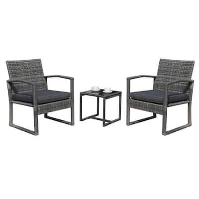 Patiorama 3-Pieces Wicker Outdoor Patio Furniture Set with Dark Gray Cushion