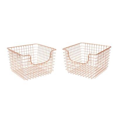 Scoop 13 in. D x 12 in. W x 8 in. H Medium Copper Steel Wire Storage Bin Basket Organizer (2-Pack)