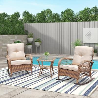 Light Brown 3-Piece Wicker Rocking Patio Conversation Set with Beige Cushions