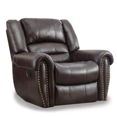 Brown Faux Leather Oversized Recliner Chair Heavy Duty and Overstuffed Arms and Back