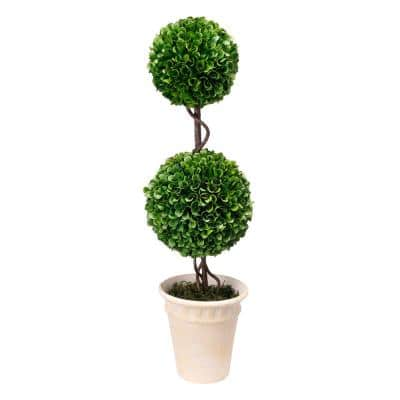 Faux Green Boxwood Double Sphere Topiary