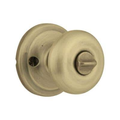 Juno Antique Brass Entry Door Knob Featuring SmartKey Security with Microban Antimicrobial Technology