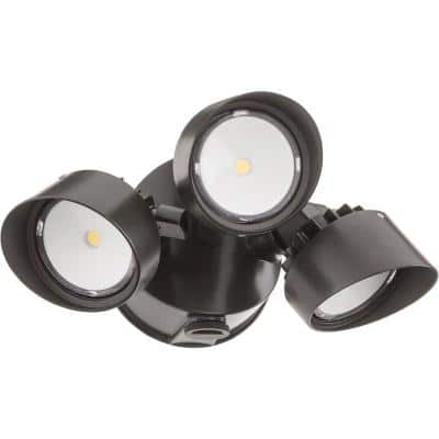 Contractor Select OLF Series 36-Watt Dark Bronze Dusk to Dawn Integrated LED Outdoor 3-Head Flood Light