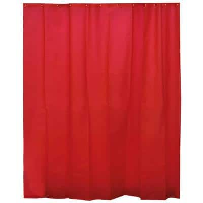 Solid Eva 71 in. x 78 in. Red Solid Bath Shower Curtain