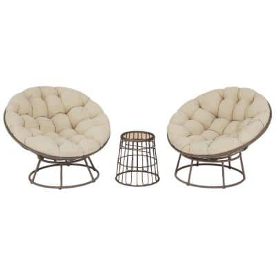 TuckberryPapasan 3-Piece Wicker Outdoor Patio Bistro Chat Set with Putty Tan Cushion