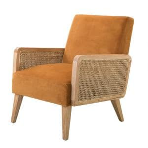 Delphine Yellow Natural Legs Cane Accent Chair