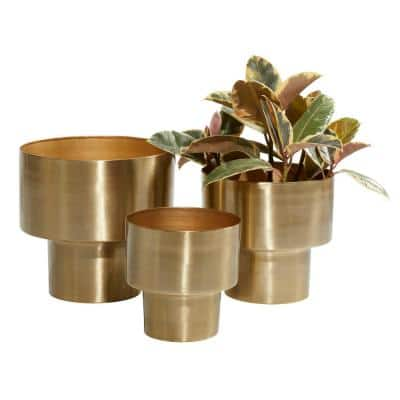 12 in. Gold Metal Glam Planter (3-Pack)