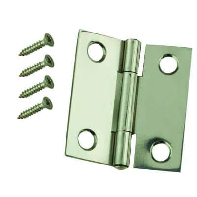 1-1/2 in. x 1-1/2 in. Stainless Steel Narrow Utility Hinge Non-Removable Pin (2-Pack)