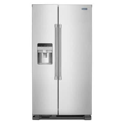 25 cu. ft. Side by Side Refrigerator in Fingerprint Resistant Stainless Steel with Exterior Ice and Water Dispenser