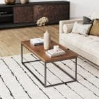 Doxa 44 in. Dark Brown/Black Large Rectangle Wood Coffee Table with Metal Frame