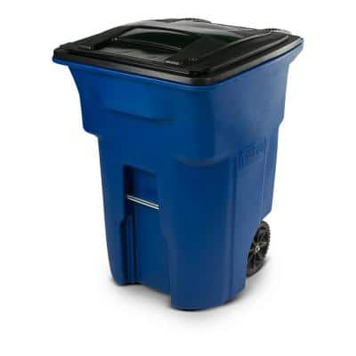 96 Gal. Blue Trash Can with Wheels and Attached Lid