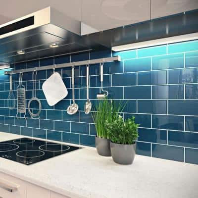 Dark Teal 3 in. x 6 in. x 8 mm Glass Subway Tile (5 sq. ft./case)