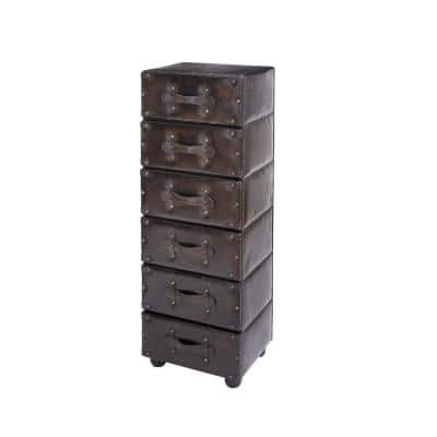 Dark Java Faux Leather Antique 6-Drawer Chest