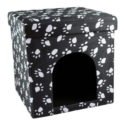 Foldable Portable Charcoal Cat Paw Palace with White Paw Prints