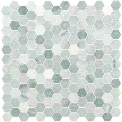 Icelandic Green Hexagon 12 in. x 11.81 in. x 10 mm Polished Marble Mesh-Mounted Mosaic Wall Tile (9.8 sq. ft./Case)