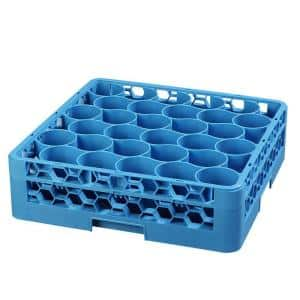 19.75 in. x 19.75 in., Polypropylene 30 Compartment, 1 Extender Glass Rack/Commercial Dishwasher in Blue (Case of 4)