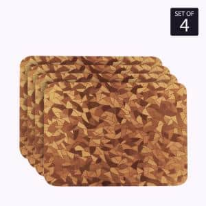 Metallic Leaf 18 in. x 12 in. Browns/Tans Vinyl Placemats (Set of 4)