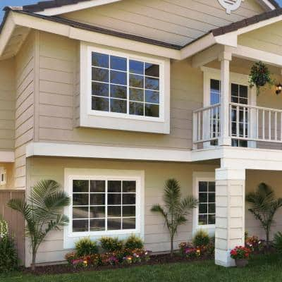 35.5 in. x 47.5 in. V-4500 Series Desert Sand Vinyl Left-Handed Sliding Window with Colonial Grids/Grilles